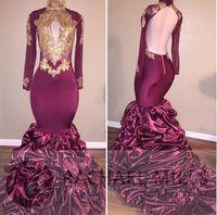 High Neck Long Sleeves Burgundy Mermaid Gold Appliqued Prom ...