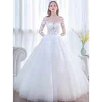 Charming Illusion Long Sleeves Ball Gown Wedding Dresses Cus...