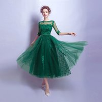 2017 Sexy Green Illusion Short Prom Dresses A- line Covered B...
