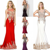 Cheap In Stock Mermaid Royal Blue Burgundy Red Long Evening Dresses 2017 Cap Sleeve Lace Appliques Black Formal Prom Gowns para mulheres CPS235