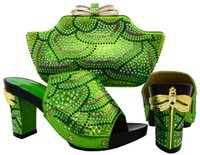 Shoes and Bag Green Color African Shoe and Bag Set for Party...