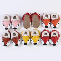 Baby Fox Winter Moccasins Soft Sole Shoes PU Leather First W...