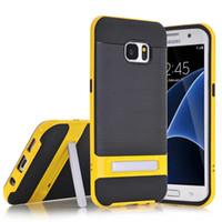Smart Case Tough Slim Armure TPU PC Housse en silicone hybride avec Stander pour iPhone 6 6S 7 Pus Samsung S6 S7 bord