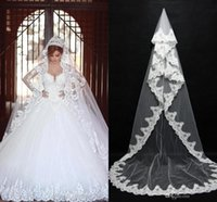 2017 Cheap In Stock Long Nupcial Veils Lace Bridal Wedding Accessories Long Appliques Edged Catedral véu de casamento formal CPA091