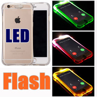 TPU + PC LED Flash Light Up Case Rappelez la couverture d'appel entrant pour iPhone 7 SE 6 6S Plus Samsung S7 S6 Edge Note 5 Clear Transparent F-SW