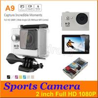 SJ4000 style A9 2 pouces écran LCD 1080P Full HD caméra d'action 30 m étanche caméscopes casque sport DV voiture DVR avec le paquet de vente au détail 5pcs