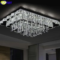 New Modern LED Chandelier Rectangle K9 Crystal Light Fixture...