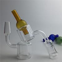 XL XXL Double Murs Quartz Banger Carb Cap pour tuyaux en verre d'eau 10mm 14mm Femelle Homme Sans Domingue Quartz Nail Carb Caps pour fumer