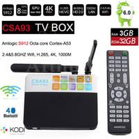 Amlogic S912 3Go RAM 32Go ROM CSA93 Octa Core Android 6.0 Smart TV Box Mini PC 4K H.265 Lecteur multimédia 2.4G / 5G Wifi KODI 1000M LAN VS S905X I8