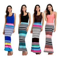 Meecharm colorful striped printing tank top crew neck sleeve...