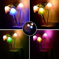 mushroom Led Wall Night Lights Mushroom Plants Style Sensor ...