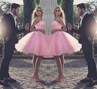 Саид Mhamad Элегантный Розовый Homecoming платья без бретелек без рукавов Пром платья с кружевом аппликаций многоуровневой до колен заказ выполненные на заказ платья партии