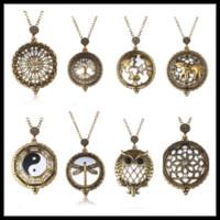 Loupe pendentif collier pendentif collier et creux rétro pendentif montre en acier inoxydable bijoux bon marché 16N0330