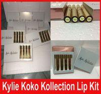Кайли КОКО Kollection золота на день рождения ограниченный макияж 4шт / комплект KYLIE Liquid матовые помады Kollection Кайли косметики