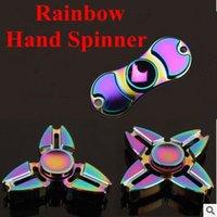 3 diseños arco iris de cuatro hojas de la mano Spinner tri-spinner juguete Fidget EDC descompresión ansiedad gyro descompresión juguetes CCA5943 100pcs