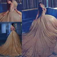 2K17 Роскошные платья Погружение без рукавов Свадебные платья Backless Sweep Train Sequined Саид Mhamad Ruffles на заказ Золотые вечерние платья
