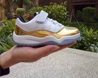 kids shoes Retro 11 Low bred concord Gold Red Black White Ch...