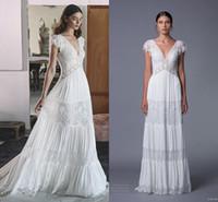 2017 Lihi Hod Кружева Beach Свадебные платья V-образным вырезом Cap рукава жемчуга A-line Свадебные платья Vintage Свадебные платья