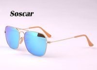 Soscar CARAVAN Sunglasses Square Metal Frame Flash Mirror Le...