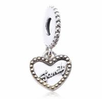 Authenic 925 Sterling Silver Drop Heart Famille européenne Charmes Fit Pour Pandora Style Bracelets DIY Loose Charm