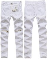 Wholesale- New Mens White Ripped Jeans 100% Cotton Distressed...