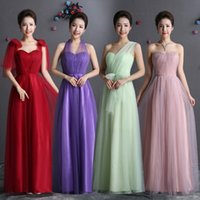 Long Soft Tulle Convertible Bridesmaid Dress 2017 Lace Up Br...