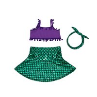Everweekend Girls Mermaid Swimsuits Tops Headbands and Skirt...