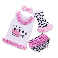 Baby Girls Dairy Cattle Rompers Sets Kids Newbown T Shirt+ He...