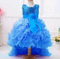 Sequined Ruffle Dresses Trail Princess Tail Flower Girls Dre...