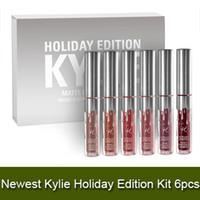 Le plus récent Hot Sell kylie mini kit d'édition de vacances KYLIE lipgloss Jenner Mat Liquide rouge à lèvres Lasting 6pcs meilleur cadeau de Noël DHL