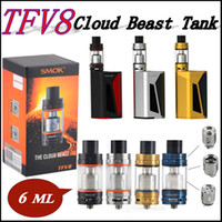 SMOK TFV8 Tank Kit Complet 6ml Top Recharge Sub ohm tank Or Bleu Noir SS TFV8 Cloud Beast Tank clone fit GX350 R80