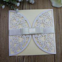 Butterfly Wedding Invitations with ribbon deocration laser c...