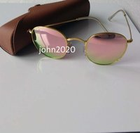 1Pcs Moda Men's Women's Alloy Óculos de sol Retro Round Eyewear Gold Frame rosa Flash espelho lente de vidro 50mm com Brown Case