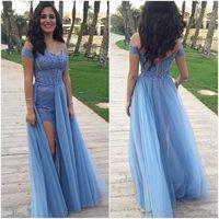 Vestidos Sky Blue Lace Appliques Sheath Prom Dresses 2017 Of...