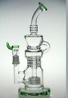 Vert Plus récents Recycler vapore rig scientifique bongs 11 pouces bongs verre tuyau d'eau Pulse bongs verre dabrigs verre waterpipe baril incycler