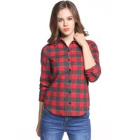 Hot Sale Women Blouses Long Shirts Single Breasted Plaid Cot...