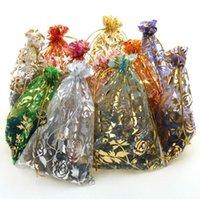 9 * 12cm 500pcs Roses Organza Drawstring Pouches Jewelry Par...