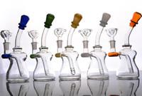 Bongs de verre de bouche colorés avec l'embout diffus de downstem plateforme d'eau de verre 14 millimètres joint femelle
