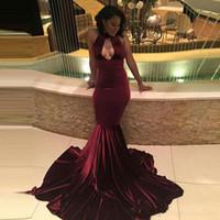 African Burgundy Velvet Mermaid Prom dresses 2017 Sexy Keyho...