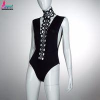Black Bodysuit Women V neck Halter Overalls Bandage Sexy Mul...