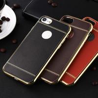 Litchi grain luxury Plating Soft Leather TPU silicone phone ...
