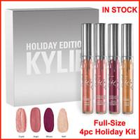 Дженнер отпуск издание Матовая губная Kit 4шт комплект Kylie праздник Коллекция комплект Liquid помад Gloss Рождественский подарок свободный DHL