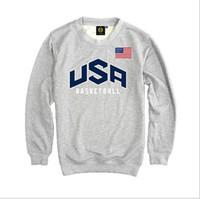 Оптово-Мужская пуловер США Dream Team Толстовка сплошной цвет вскользь Мужская с длинным рукавом балахон Команда США