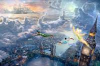 006 Tinkerbell и Питер Пэн летать в Neverland Кинкейд Картина маслом, HD Art Print Оригинал Холст Wall Deco, Мультифункциональный размер, свободная перевозка груза
