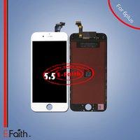 Pour l'iPhone 6 plus l'affichage noir d'affichage à cristaux liquides avec le numériseur d'écran tactile complet pour 5.5 inch DHL expédition libre