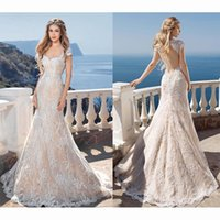 Lace Backless Wedding Dresses Sheath V- Neck Capped Sleeves S...
