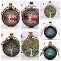 100pcs Alloy Vintage Living Tree of Life Glass Cabochon With...
