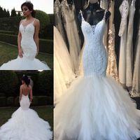 2017 Vintage Lace Mermaid Wedding Dresses Delicate Appliques...