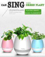 Flowerpot Speaker TOKQI Bluetooth Musique intelligente Pots de fleurs Intelligent Real Plant Touch Play Colorful Light Long Time Play Bass Speaker Nig
