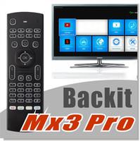 MX3 2.4G Mise à jour Mini clavier sans fil Air Fly souris rétroéclairée multifonctionnelle infrarouge à distance avec rétro-éclairage pour Android TV Box